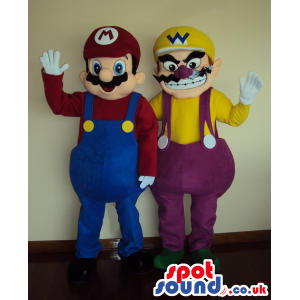 Mario and Wario mascot in their original and classic colors -