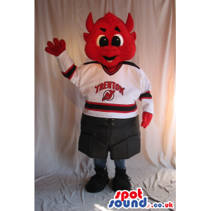 Red Devil Character Mascot With Sports Clothes Wit A Logo -