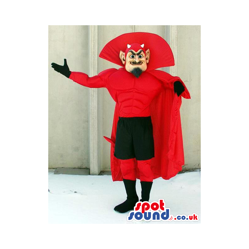 Red Devil Character Mascot With Black And Red Garments - Custom