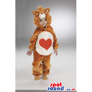 Heart Care Bear Brown And White Bear Plush Baby Size Costume -