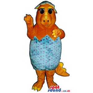 Orange Baby Alligator Plush Mascot With Inside A Hatched Egg -
