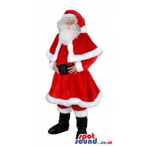 Red Santa Claus mascot with red capelet, hat with white