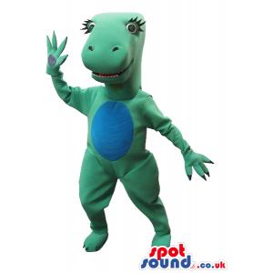Green Dinosaur Girl Plush Mascot With A Blue Belly - Custom