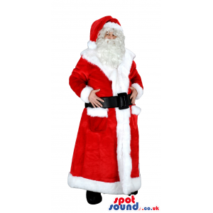 Red santa claus mascot with long red gown and white trimming -