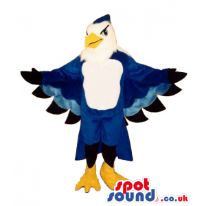 Cool Blue And White Bird Plush Mascot With Beautiful Wings -