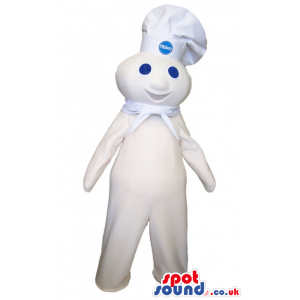Happy White Creature Plush Mascot Wearing A Chef Hat With Logo