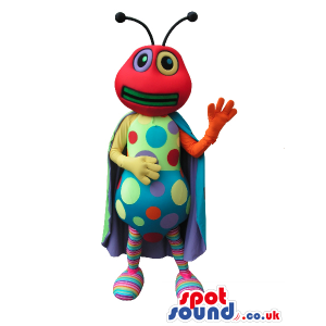 Red Bug Plush Mascot With Colorful Dots And A Cape - Custom