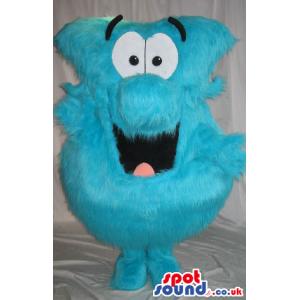 Hairy Blue Creature Plush Mascot With Big Cartoon Face - Custom