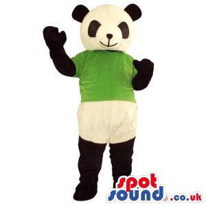 Cute Panda Bear Plush Mascot Wearing A Green T-Shirt - Custom