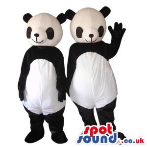 Customizable Plain Two Panda Bears Couple Plush Mascots -