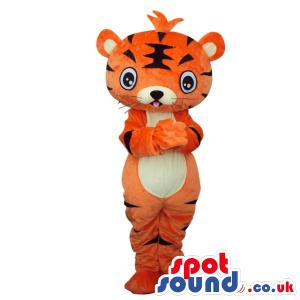 Fantasy Cartoon Orange Tiger Plush Mascot With White Belly -