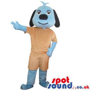 Cute Blue Dog Plush Animal Mascot Wearing Brown Clothes -