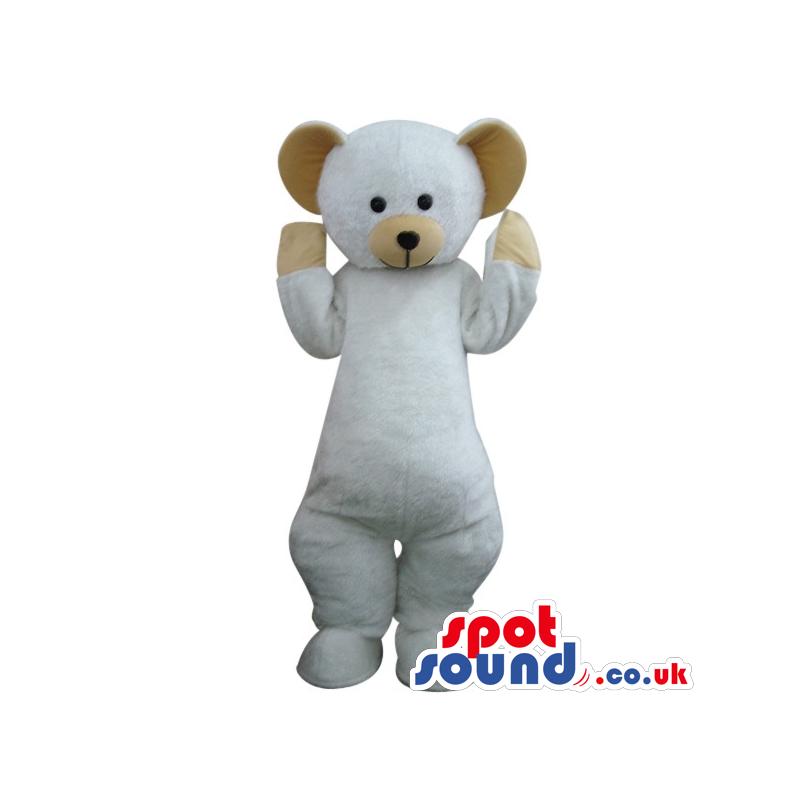 Cute White Teddy Bear Toy Plush Mascot With Brown Ears - Custom