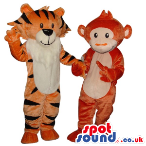 Customizable Monkey And Tiger Couple Plush Mascots - Custom