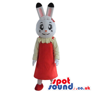 Cartoon White Girl Bunny Plush Mascot Wearing A Red Dress -