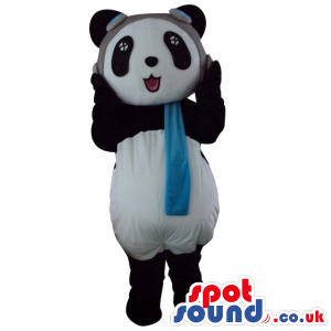 Cute Panda Bear Plush Animal Mascot Wearing Pilot Hat And Scarf