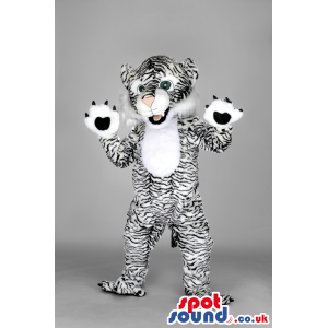 Black and white bangal tiger mascot with paws and tails -