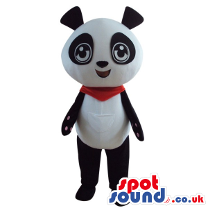 Cute Panda Bear Plush Animal Mascot Wearing A Red Neck Scarf -