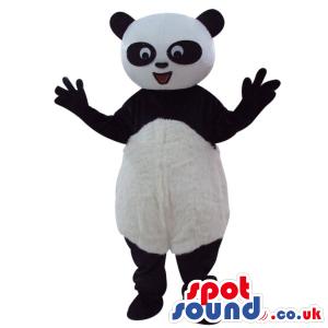 Panda Bear Plush Mascot With Round Belly And Ovel Eye Circles.