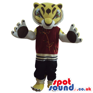 Cute Yellow Tiger Plush Mascot Wearing Red Sports Garments -