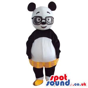 Cute Panda Bear Plush Mascot With Shorts And Glasses - Custom