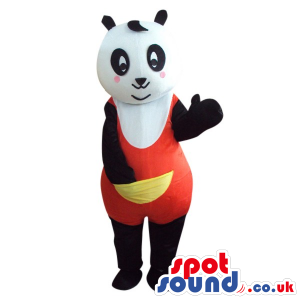 Cute Panda Bear Plush Mascot Wearing Red Clothes With A Pocket