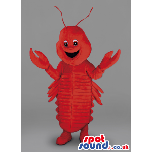 Big red standing Lobster mascot with 2 claws and smiling -