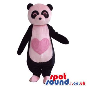 Customizable Cute Panda Bear Plush Mascot With A Pink Heart -
