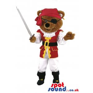 Bear mascot with sword dressed in red and white pirate clothes