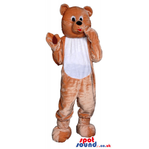 Customizable Brown Teddy Bear Plush Mascot With White Belly -