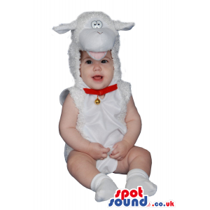 Cute White Sheep With Bell Baby Size Funny Costume - Custom