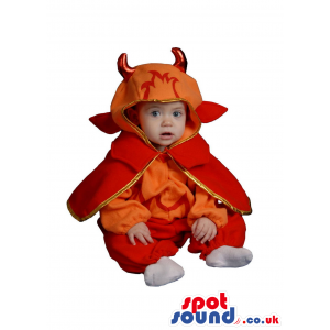 Cute Red And Orange Demon Baby Size Funny Costume - Custom