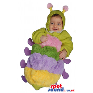 Cute Green And Purple Caterpillar Bug Baby Size Funny Costume -