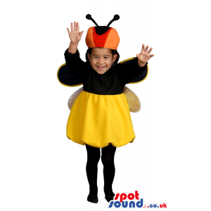 Cute Yellow And Black Bee Or Bug Baby Size Funny Costume -
