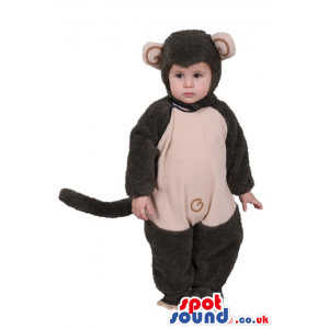 Cute Black And Beige Monkey Baby Size Funny Costume - Custom