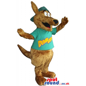 Cute Brown Kangaroo Plush Mascot Wearing A T-Shirt With Text -