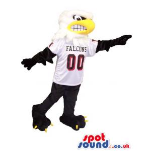 Angry American Eagle Bird Plush Mascot Wearing Sports Team