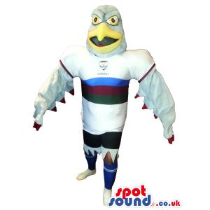 Grey Eagle Bird Plush Mascot Wearing Sports Team Clothes. -