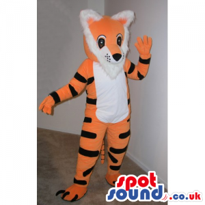 Cute Funny Orange Tiger Plush Mascot With A White Belly -