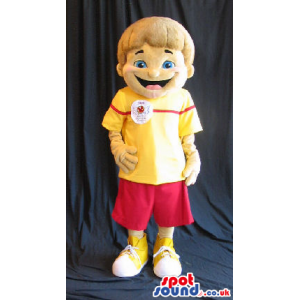Boy Plush Mascot Wearing Red And Yellow Clothes With A Logo -