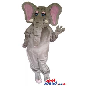 Grey Elephant Plush Mascot With Pink Ears And Eyelids - Custom