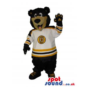 Big Bear Mascot With A White Ice-Hockey Sports Shirt With Logo