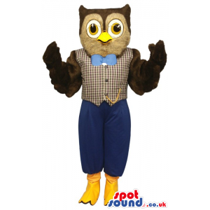 Owl Plush Mascot Wearing An Elegant Vest And Blue Bow Tie -
