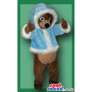 Brown Bear Animal Plush Mascot In Blue Winter Clothes - Custom