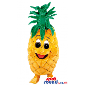 Smiling pineapple mascot with green top, legs and feet - Custom