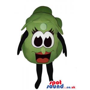 Customizable Green Grape Mascot With Cartoon Girl Eyes - Custom