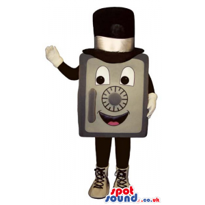Funny Safe Box Plush Mascot Wearing A Top Hat And Shoes -