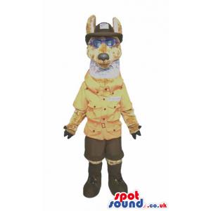 Big Brown Wolf Plush Mascot Wearing Park Guard Garments -