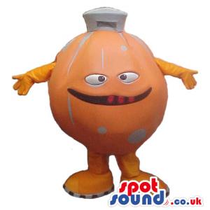 Customizable Orange Big Ball Mascot With A Funny Face - Custom