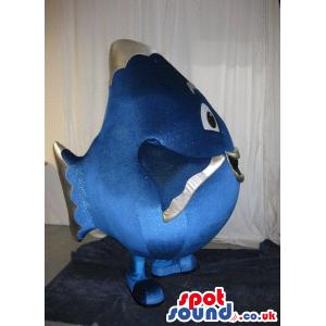 Cute Blue Big Round Fish Plush Mascot With Happy Face - Custom
